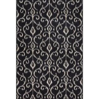Grand Bazaar Power Loomed Wool & Viscose Guilia Rug in Black / Ecru 5' x 8'