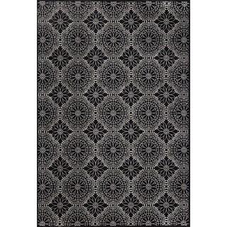 Grand Bazaar Wool & Viscose Settat Area Rug in Black/ Ecru (5' x 8')