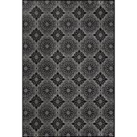 Grand Bazaar Power Loomed Wool & Viscose Settat Rug in Black / Ecru - 5' x 8'