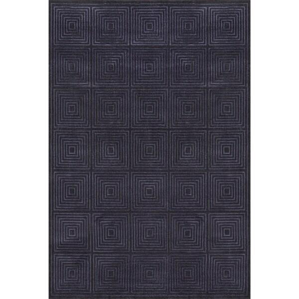 Grand Bazaar Wool & Viscose Guilia Area Rug in Black/ Charcoal (5' x 8')