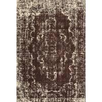 Grand Bazaar Power Loomed Wool & Viscose Settat Rug in Dark Chocolate / Ecru - 5' x 8'