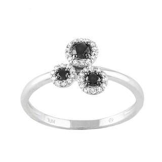 10k White Gold 1/3ct TDW Black and White 3-Stone Diamond Flower Ring