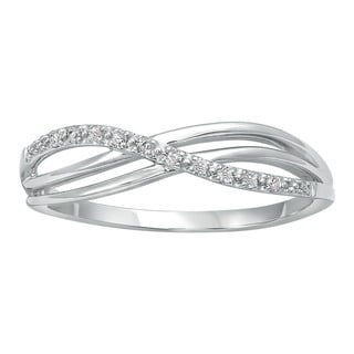 Beverly Hills Charm 10k White Gold Crossover Diamond Accent High Polish Ring