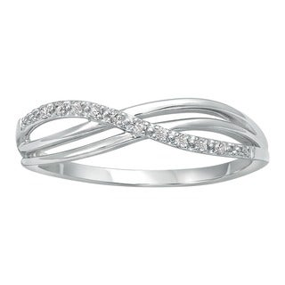10k White Gold Crossover Diamond Accent High Polish Ring