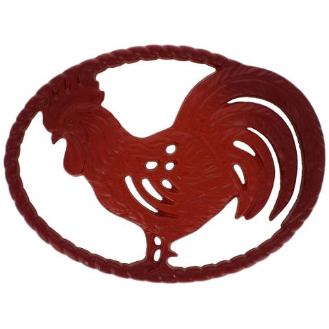 Chasseur 11-inch Flame Red Cast Iron Rooster Trivet