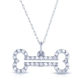 Eloquence 14k White Gold 1/4ct TDW White Diamond Dog Bone Necklace (H-I, I2-I3)