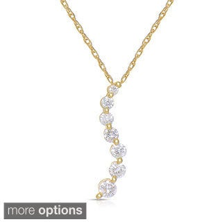 Eloquence 14k White Gold 1/2ct TDW Diamond Journey Necklace (H-I, I2-I3)