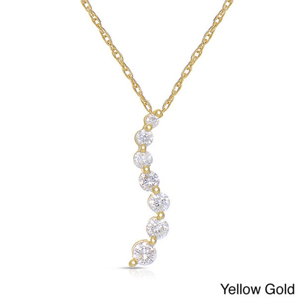 Eloquence 14k White Gold 1/2ct TDW Diamond Journey Necklace
