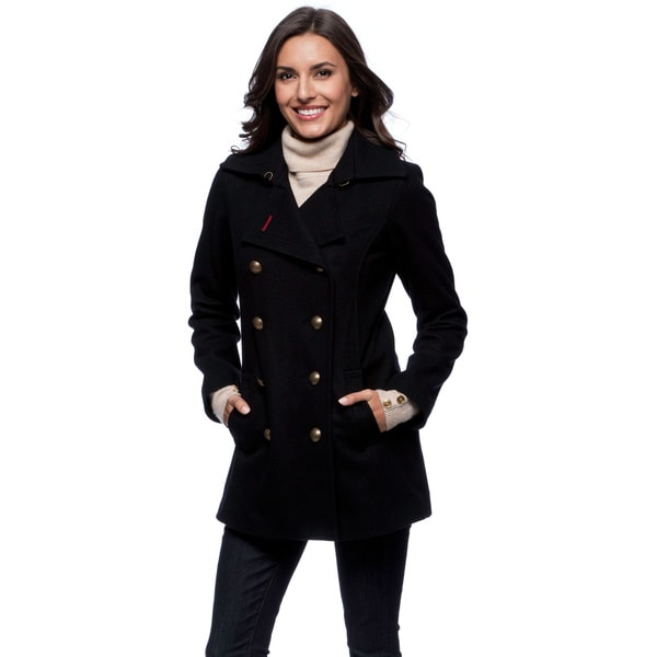 Tommy Hilfiger Women's Gold Button Navy Peacoat - Free Shipping ...