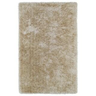 Hand-Tufted Silky Shag Beige Rug (3' x 5') - 3' x 5'