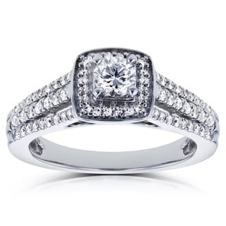 Annello 14k White Gold 1/2ct TDW Round Diamond Engagement Ring (H-I, I1-I2)