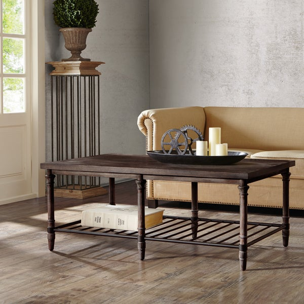 Shop 50 Inch Renate Cocktail Table In Coffee Brown With Rack Free