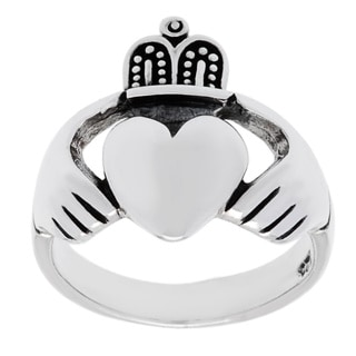 Sterling Silver High Polished Irish Claddaugh Ring