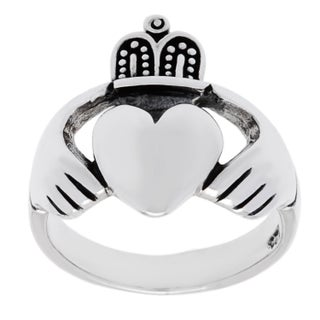 Sterling Silver High Polished Irish Claddaugh Ring (2 options available)