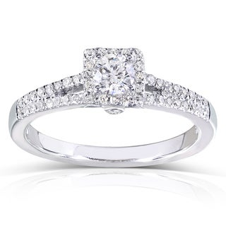 Annello by Kobelli 14k White Gold 1/3ct TDW Round-cut Diamond Promise Ring (H-I, I1-I2