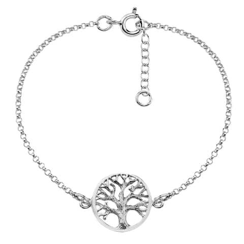 Handmade 'Tree of Life' Centered .925 Sterling Silver Bracelet (Thailand)