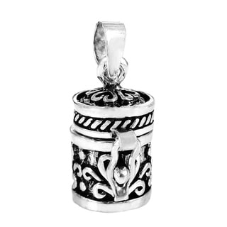 Handmade Heart Swirls Prayer Box Keepsake .925 Silver Pendant (Thailand)