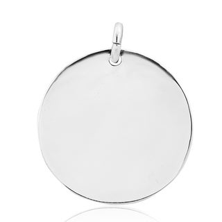 Handmade Versatile Round Engravable .925 Silver Pendant or Charm (Thailand)