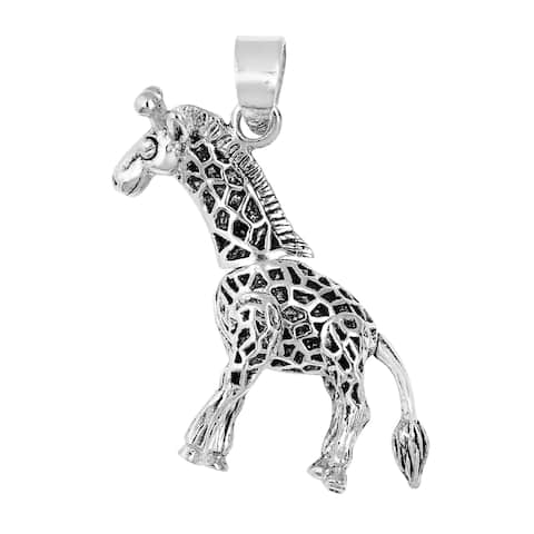 Handmade Unique Moveable 3D Giraffe .925 Sterling Silver Pendant (Thailand)