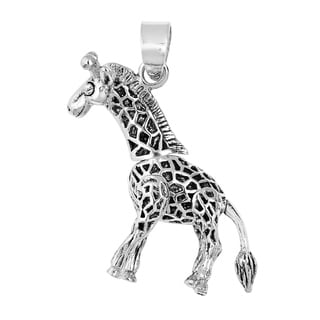 Unique Moveable 3D Giraffe .925 Sterling Silver Pendant (Thailand)