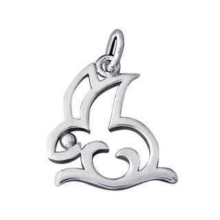 Cute Cut Out Bunny Rabbit .925 Sterling Silver Pendant (Thailand)