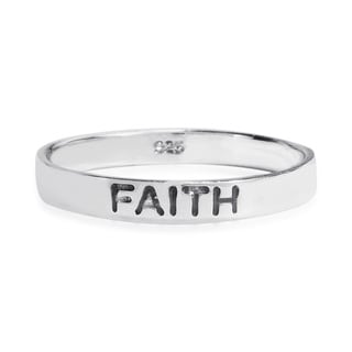 Inspirational 'Faith' .925 Sterling Silver Stackable Band (Thailand)
