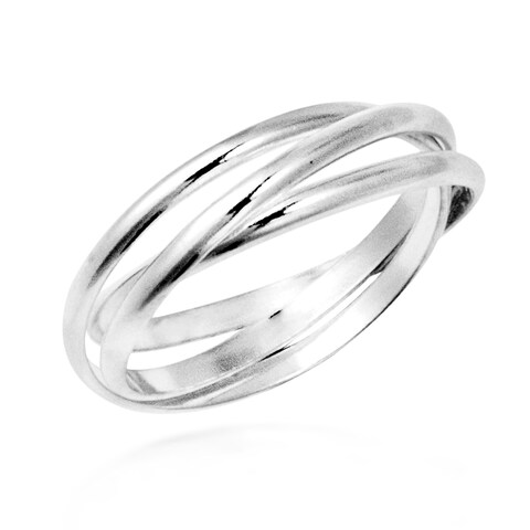 Handmade Interconnected Trinity Band Sterling Silver Ring (Thailand)