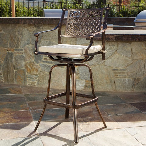 Sebastian Cast Aluminum Barstool with Cushion by Christopher Knight Home