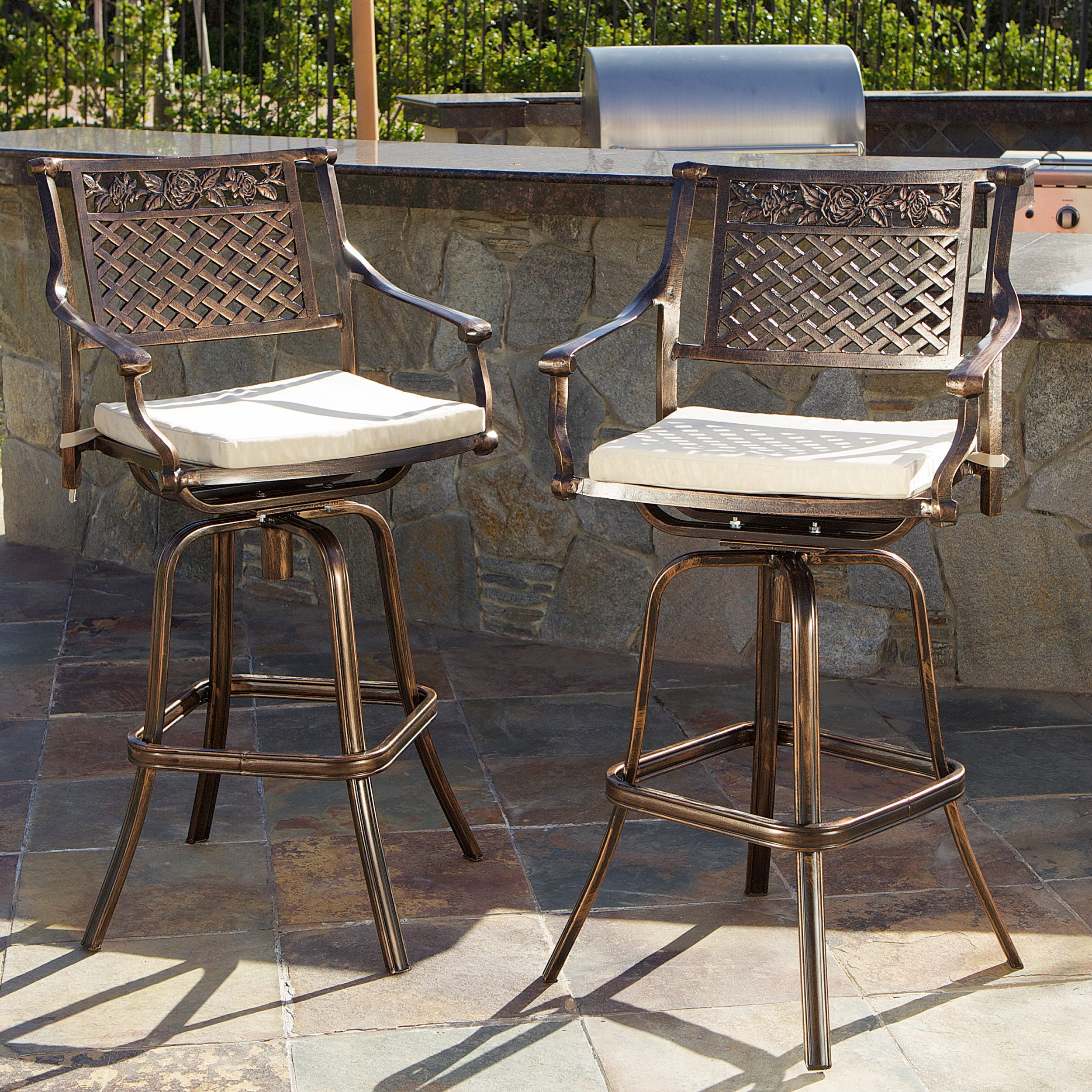 Sebastian Cast Aluminum Barstool with Cushions (Set of 2)...