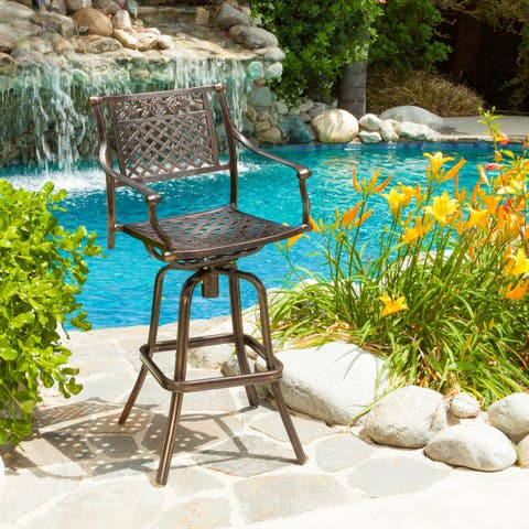 Sebastian Cast Aluminum Barstool by Christopher Knight Home