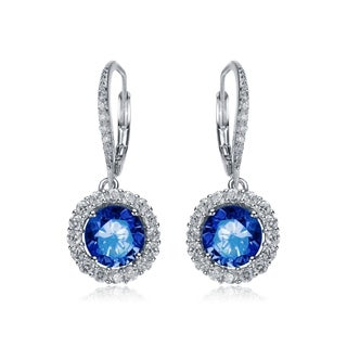 Collette Z Sterling Silver Blue and White Cubic Zirconia Round Dangle Earrings