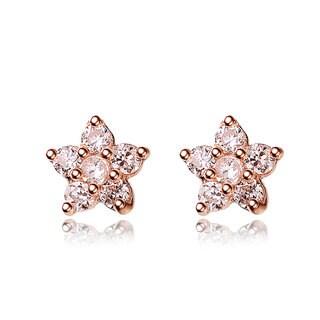 Collette Z Rose-plated Sterling Silver Cubic Zirconia Flower Stud Earrings