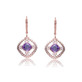 Collette Z Rose-plated Sterling Silver Purple and White Cubic Zirconia Square Drop Earrings