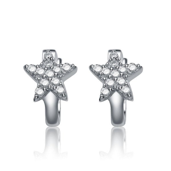 Collette Z Sterling Silver Cubic Zirconia Star Shape Kids X27 Hoop Earrings