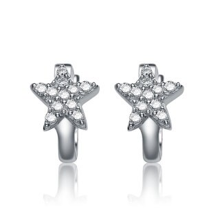 Collette Z Sterling Silver Cubic Zirconia Star-shape Kids' Hoop Earrings