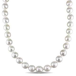 Miadora Signature Collection 14k Yellow Gold South Sea Pearl Necklace (9-11 mm)