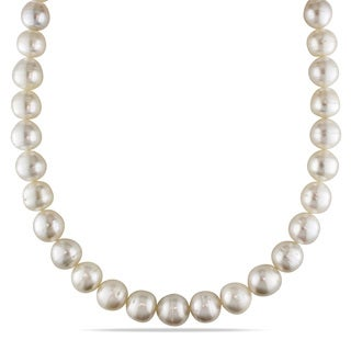 Miadora Signature Collection 14k Yellow Gold South Sea Pearl Necklace (10-12 mm)