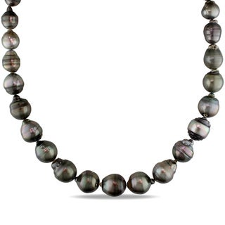 Miadora 14k White Gold Tahitian Pearl Necklace (9-14 mm)