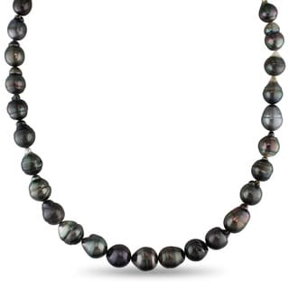 Miadora 14k White Gold Tahitian Pearl Necklace (8-10 mm)