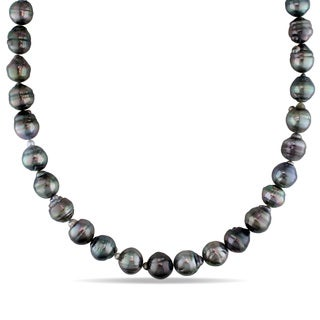 Miadora 14k White Gold Tahitian Pearl Necklace (9-12 mm)