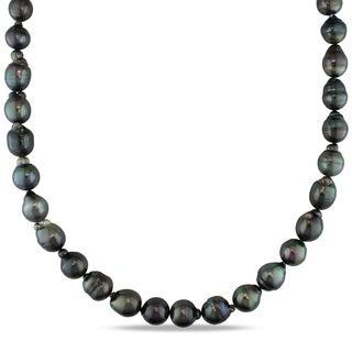 Miadora 14k White Gold Tahitian Black Pearl Necklace (9-11 mm)
