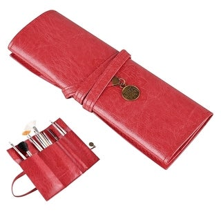 Zodaca Women's Leather Roll-up Cosmetic/ Pencil Case