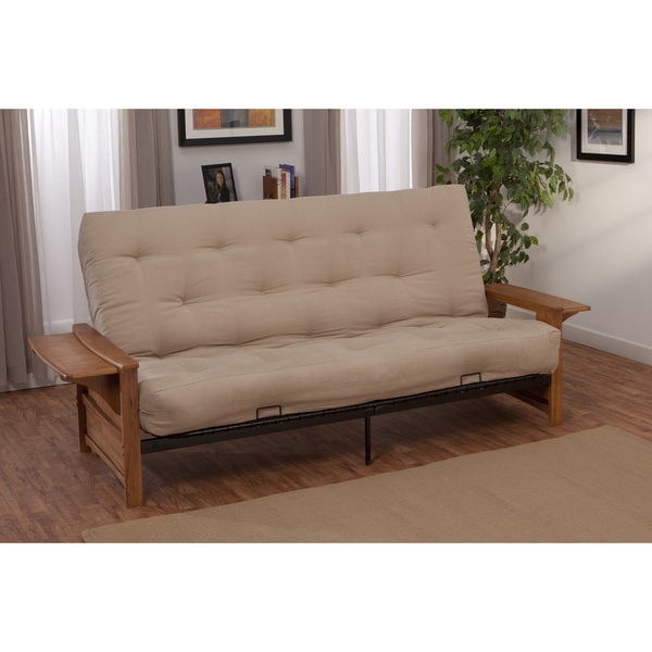 Bellevue With Retractable Tables Transitional Style Full Size Inner Spring  Futon Sofa Sleeper Bed