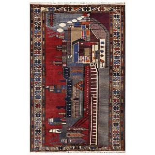 Herat Oriental Semi-antique Afghan Hand-knotted Tribal Balouchi Red/ Grey Wool Rug (2'7 x 4'1)