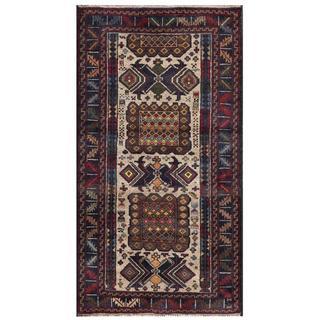 Herat Oriental Semi-antique Afghan Hand-knotted Tribal Balouchi Grey/ Navy Wool Rug (2'7 x 4'11)