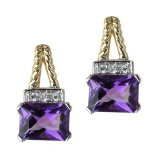 Michael Valitutti 14k Two-tone Gold Amethyst and Diamond Earrings