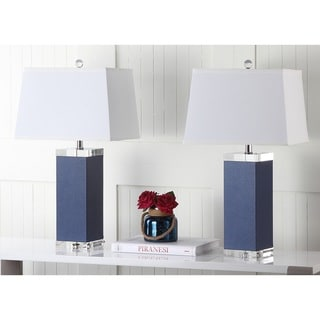 "Safavieh Lighting 27-inch Navy Deco Leather Table Lamp (Set of 2) - 14""x14""x27"""