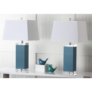 Safavieh Lighting 25.5-inch Blue Deco Leather Table Lamp (Set of 2)