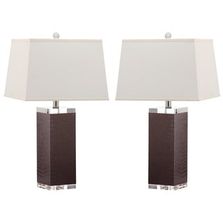 Safavieh Lighting 25.5-inch Crocodile Deco Leather Table Lamp (Set of 2)