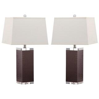 Safavieh Lighting 25.5-inch Crocodile Deco Leather Table Lamp (Set of 2)